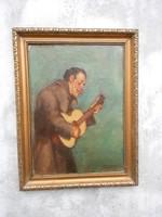 Karlovszky Bertalan (1858-1938)Muzsikáló szerzetes, olaj vászon festmény. Munkácsy tanítvány