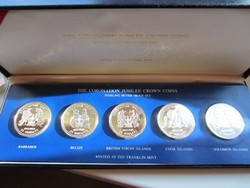 1978 Koronázási jubileum ezüst érme sor certi díszdoboz 0.925 5db egyben