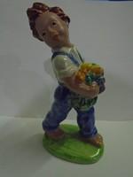 Kerámia figura jelzett , régi 16,5 cm