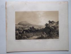 Keleti Gusztáv: Abaújszántó. Litográfia az eredeti(!) Tokaj-hegyaljai albumból (Pest, 1867)