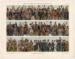 Német hadsereg és tengerészet, színes nyomat 1908, német nyelvű, litográfia, katona, uniformis, hadi