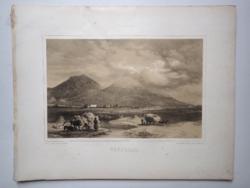 Keleti Gusztáv: Tokaj-hegyalja, Vároldal. Litográfia az eredeti(!) Tokaj-hegyaljai albumból (1867)