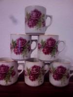 Zsolnay szoknyás rózsás bögre 6db