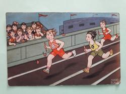 Régi képeslap Margret Boriss rajza gyerekek sport futás