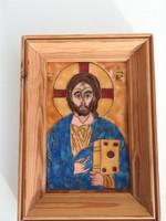 Czóbel Mariann Jézus Krisztus - rekeszzománc - tűzzománc kép