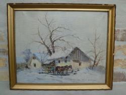 Németh György (1888-1962) Páros festménye 1. 40 x 50 cm.