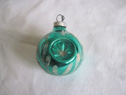 Régi húzott üveg gömb karácsonyfadísz 4,5 cm