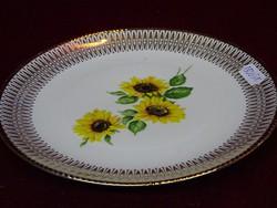 Winterling Bavaria német porcelán süteményes tányér, napraforgó mintával, 19 cm átmérővel.