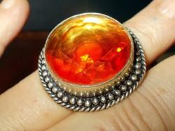 Arany Citrin Kristály köves kézműves 925 ezüst tekintélyes Gyűrű 8.5-es