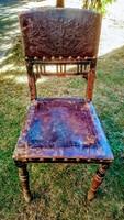 Antik faragott nyomott mintás bőrborítású székek, a képeken látható fellelt állapotban eladók!