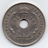 British West Afrika 1 penny, 1936, VIII. Edward, ritka