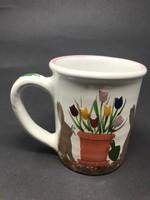 Nagy méretű nyuszis, tulipános kézzel festett bögre