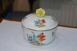 Ó herendi virágmintás porcelán cukortartó
