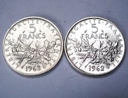 5 frank 1962 és 1963