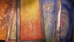 Arannyal, ezüsttel, fényre változó színekkel. 5 kép együtt, Károlyfi Zsófia Prima díjas alkotótól