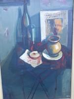 Fóth Ernő ( 1934- ) Asztali csendélet.Képcsarnokos.. Munkácsy-díjas,érdemes művész.Barcsay tanítvány