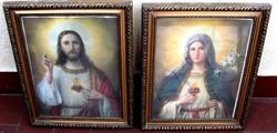 Finomvonalú antik szentkép párban: Jézus szíve és Mária szíve