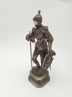 Antik ezüst elefántcsont arccal - harcos szobor jelzett