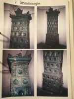 Szecessziós 270 cm magas porcelán csempés PETROLZÖLD színű  cserépkályha