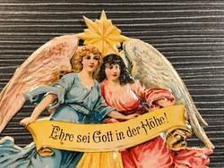 Antik angyalok litográfia papír karácsonyfadísz 2.