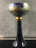 Kézzel festett kerámia kehely dús aranyozással, 26,5 cm magas