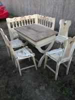 Antik konyhai paraszt bútor garnitúra tálas