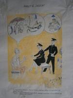Múlt és jelen 50-es évekbeli karikatúra eredeti tusrajz 38x47 cm jelzés nélkül