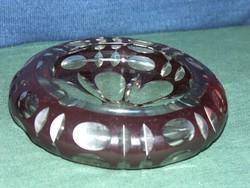 Metszett, rubinvörös  ólomkristály hamutál