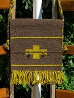 'MOHÁS' kézzel szőtt gyapjú táska / tarisznya moha-achát gyöngyökkel