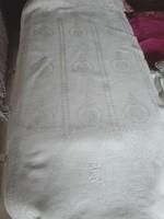 Antik, monogramos damaszt törlő, kendő 99 x 44 cm