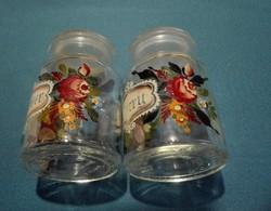 2 db festett üveg fűszertartó, belga