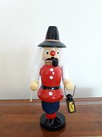 Karácsonyi füstölő fa figura lámpagyújtó pipázó lámpaoltó fabábú 13.5 cm