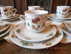 Karácsonyi porcelán reggeliző készlet 18 db-os, 6 személyes
