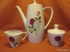 Csodaszép rózsás Bavaria kávé és tej kiöntő, cukortartó