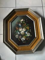 Különleges 8 szögletű csendélet festmény fa és bársony keretben.