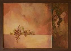 Budai Tóth Gizella Szüret című festménye, EREDETIGAZOLÁSSAL,  VISSZAVÁSÁRLÁSI GARANCIÁVAL!
