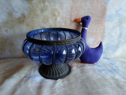 19204B Antikolt vas asztalközép kék üveg betéttel