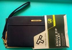 TRAVELON éjkék színű, elegáns, nagy méretű női clutch pénztárca, RFID védelemmel