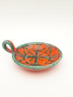 Retro iparművész kerámia zöld és narancssárga gyertyatartó - hordozható gyertya tartó