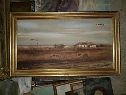 Kovács jelzéssel, tanya, olaj, farost, pereg, 40x75+szép keret
