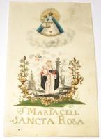 18.századi kézzel festett vallási rajz, Sancta Rosa...