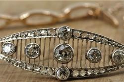 1,40ct rózsa vágású gyémántok Art deco arany-platina karkötő Igazolással