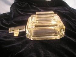 N 26 Art decó eredeti piperepolcra ékszer + smink tartó vastag falú üveg + parfűm lezáró dugó egyben