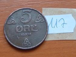 NORVÉGIA 5 ŐRE 1941 117.
