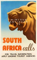 Art deco utazási hirdetés, oroszlán, Afrika. Vintage/antik reklám plakát reprint