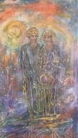 A szerelmek az égben köttetnek.70x35cm-es vászonkép. Károlyfi Zsófia Prima díjas alkotó műve.