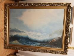 Hibátlan sziklás tenger, olaj, faroston, 92x63+gyönyörű keret