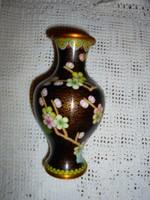 Cloissoné   zománc, rekesz  zománc váza 15 cm