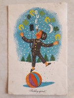 Régi újévi képeslap zsonglőr kéményseprő üdvözlőlap