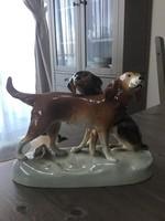 Régi Royal Dux porcelán vadászkutya pár.